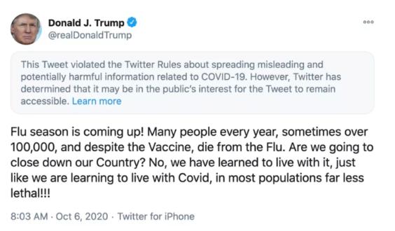 Captura del tuit de Trum sobre la COVID-19