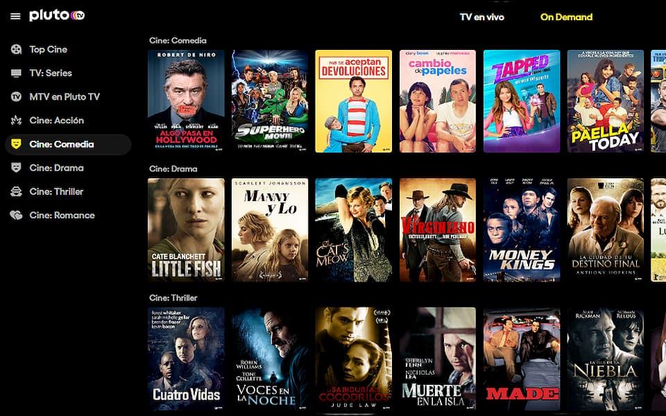 Algunas de las películas disponibles en Pluto TV España