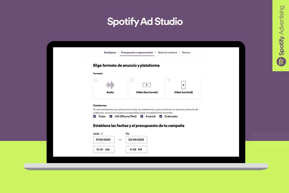 La intuitiva interfaz de Spotify Ad Studio