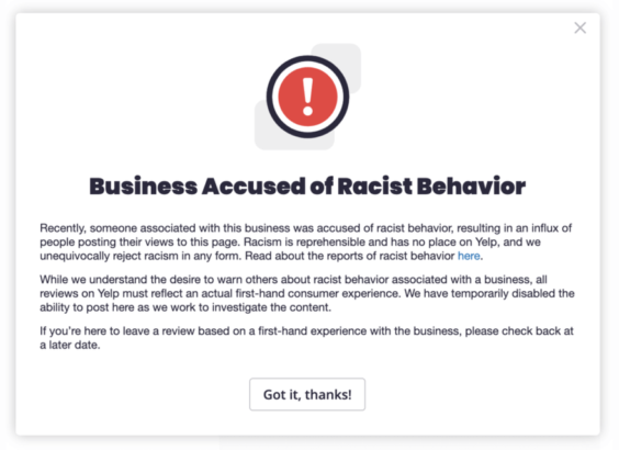 Negocio acusado de comportamiento racista