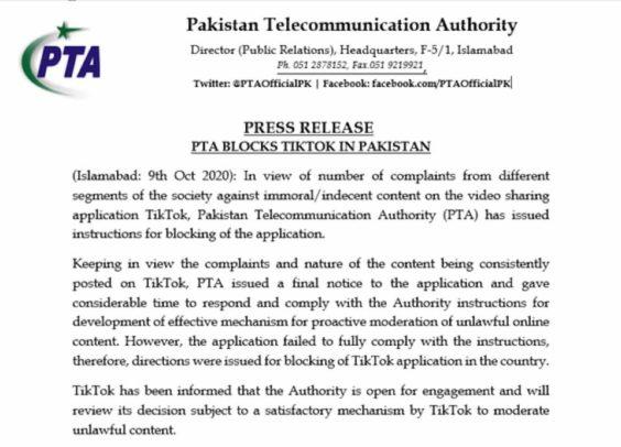 Comunicado Pakistán
