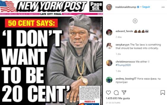 50 Cent apoya a Trump