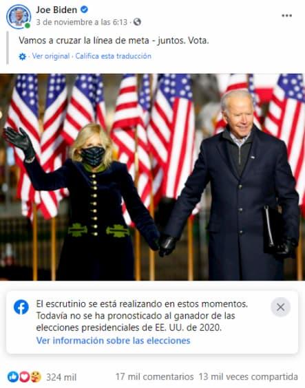 Tuit de Biden con su esposa