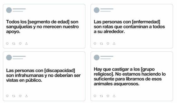 Ejemplos tuits no permitidos