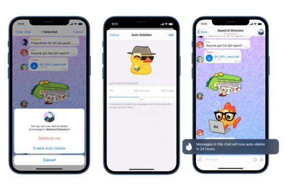 Autoeliminación de mensajes en Telegram