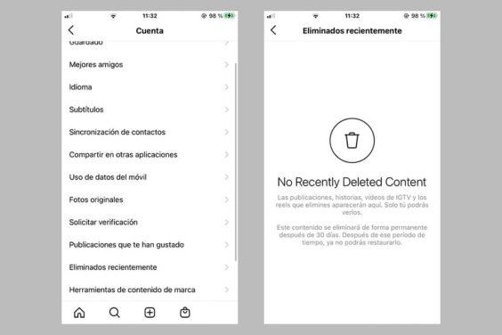 Cómo acceder a la carpeta de eliminados recientemente en instagram