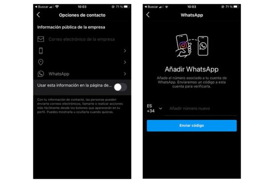 WhatsApp integrado en Instagram