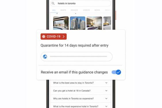 Avisos de Google sobre cambios en restricciones por coronavirus