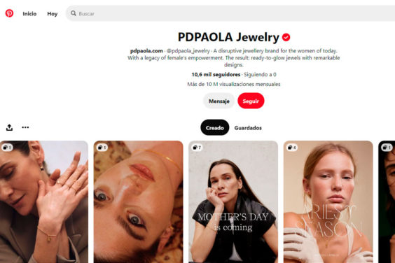 PDPAOLA una de las e-commerce españolas que hace uso de Pinterest