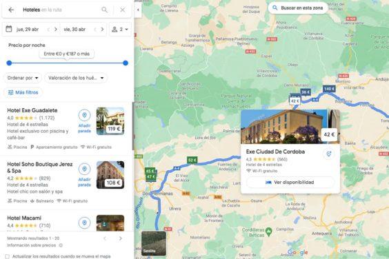 Planificar una ruta por carretera en Google Maps