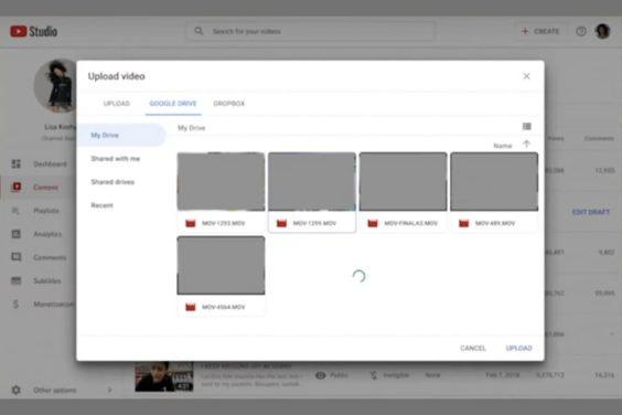 Cargar contenido desde Google Drive en YouTube