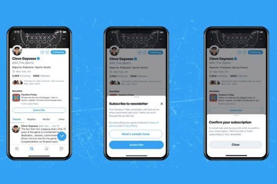 Nuevo botón para suscribirse a newsletters en Twitter