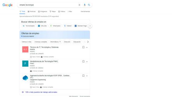 Ofertas de empleo en Google