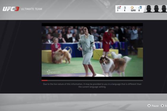 Vista de videojuego con anuncio in-game