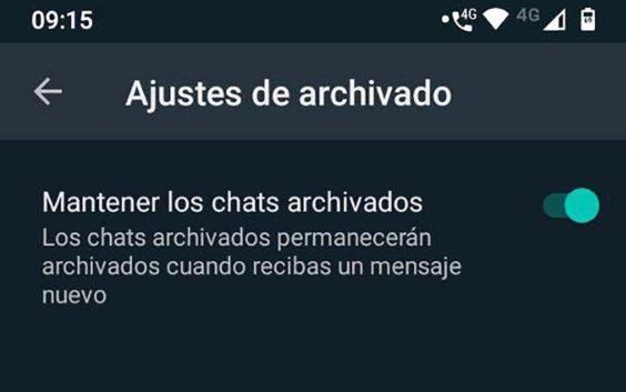 Ocultar los chats archivados de Whatsapp
