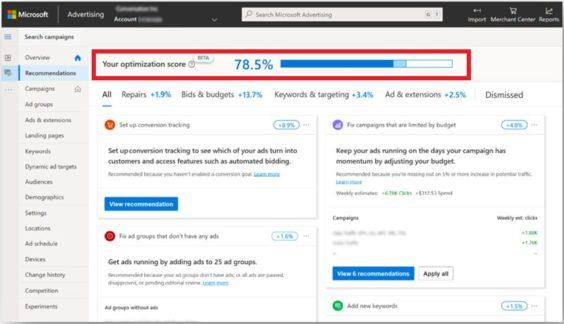 Puntuación de optimización en Microsoft Ads