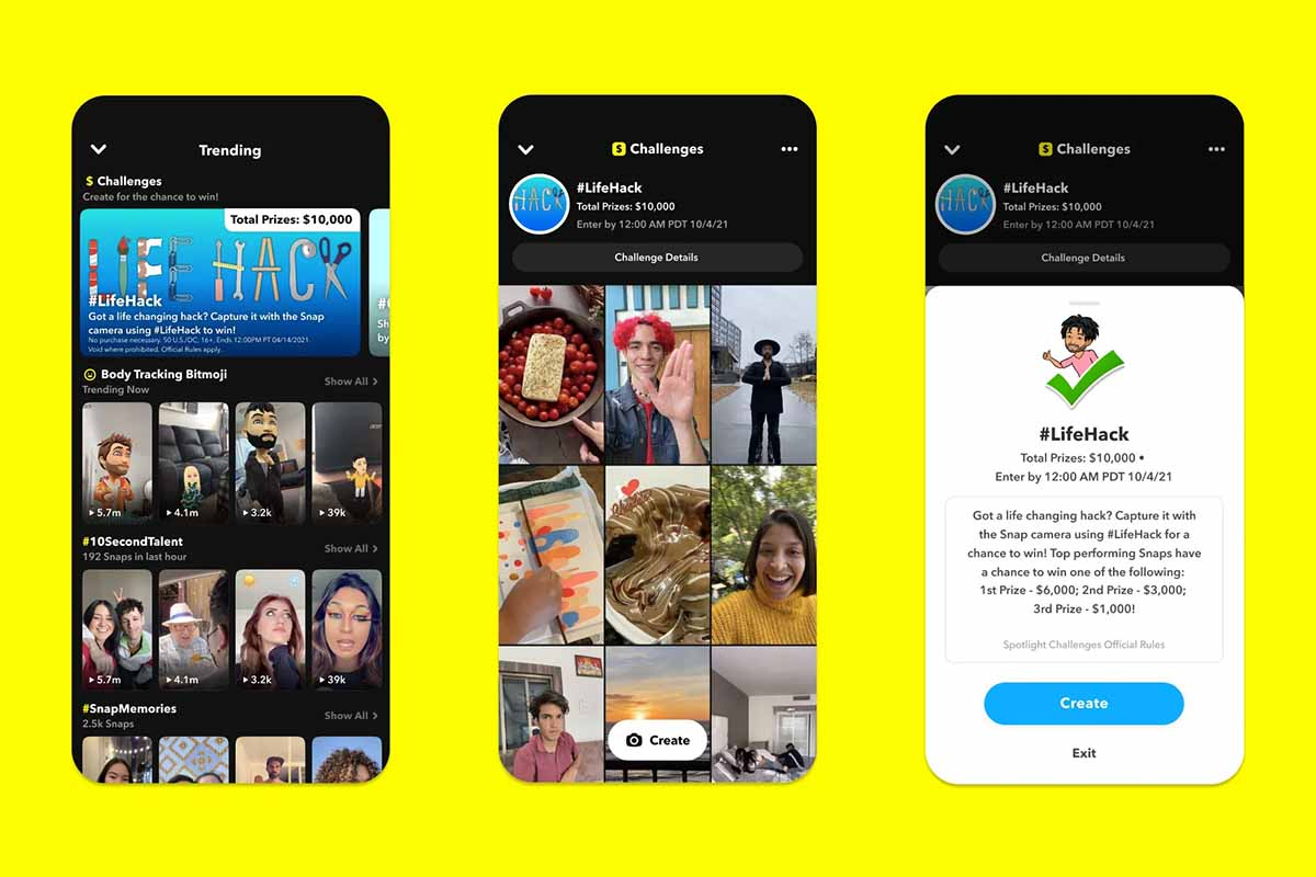 Snapchat presentó ayer Spotlight Challenges, una nueva forma de recompensar a los creadores de Snapchat por hacer vídeos de formato corto en Spotlight